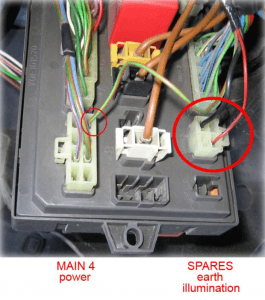 electric mirror fuse box close up