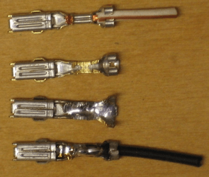 stages of soldering wires to pins