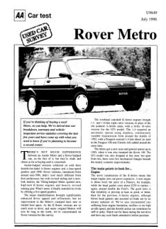 Used Car Survey - Rover Metro