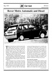 Car Test - Rover Metro Auto and Diesel