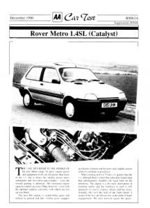 Car Test - Rover Metro 1.4SL (Catalyst)