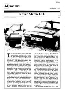 Car Test - Rover Metro 1.1L