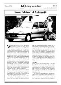 Long Term Test - Rover Metro 1.4 Auto